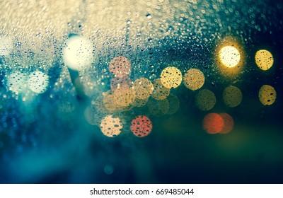 rainy night bokeh