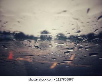 Rainy parking lot