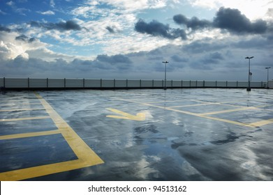 Rainy rooftop parking