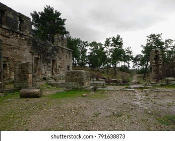 Rainy Seleucia ruins (Pamphylia, Lybre, Lyrbe) - ancient Greek city on the Mediterranean coast of Pamphylia. Side, Manavgat. Turkey. Asia Minor