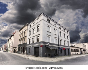 Rainy sky over street corner in Chelmno, Poland.