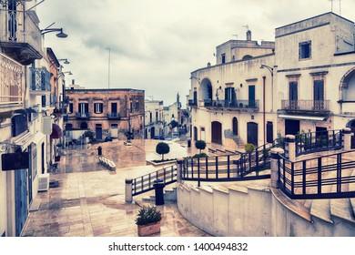 rainy spring day of Ostuni square in Ostuni, Italy