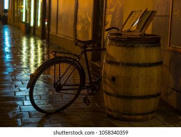 Rainy vintage bike before tavern