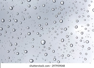 Rainy water drop on glass mirror background.