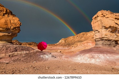 Rainy weather and colorful  landscape in geological Timna park, Israel.  It is located 25 km north of Eilat and combines beautiful scenery with unique geology, variety of sport and family activities