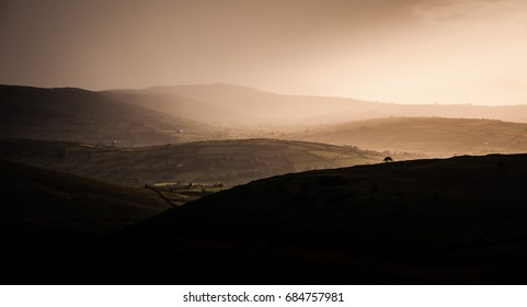 Rainy weather in Mourne mountains, Northern Ireland