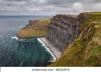 Rainy weather on Cliffs of Moher, Ireland