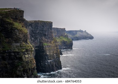 Rainy weather on Cliffs of Moher, Ireland