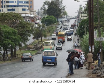 Rainy weather on the main road in the city of Addis Ababa, capital city of Ethiopia - 26 april 2008