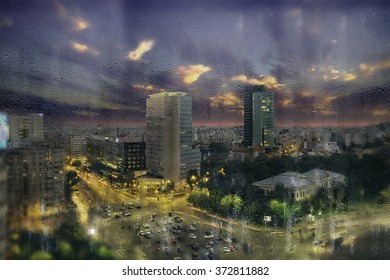 Rainy window shot of Victoria Square. Bucharest, Romania. Aerial view. Dramatic sky.