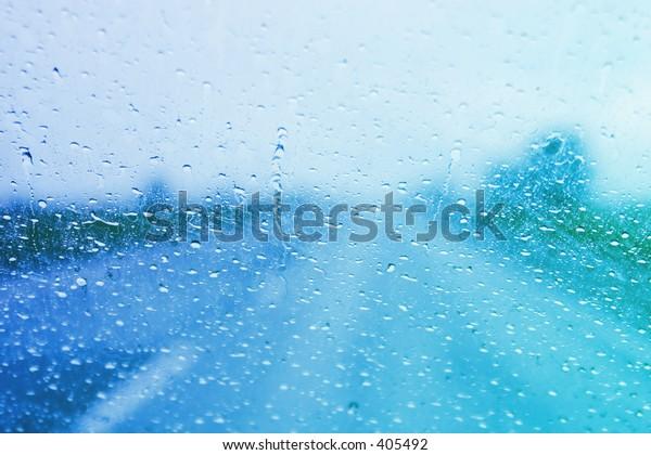 Rainy windshield on a stormy day