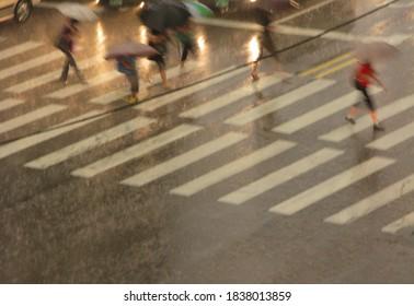 rainyday people crosswalk blur art