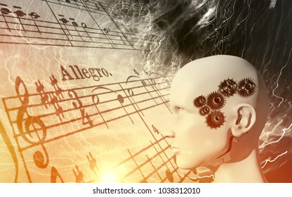 Raise of the machines in music - artificial intelligence, robot, cyborg concept