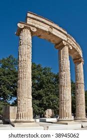 Raised ancient columns and lintels at Olympia