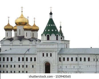raised a Christian monastery in Russia isolation on white background