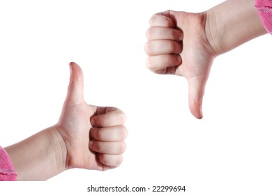 The raised and droped fingers as the simbol of success or displeasure