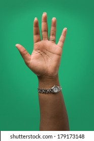 Raised Female Hand Wearing Wedding Ring and Watch Isolated on Green