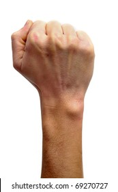 raised fist on a white background