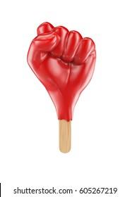 Raised fist popsicle / 3D illustration of fist shaped ice cream popsicle