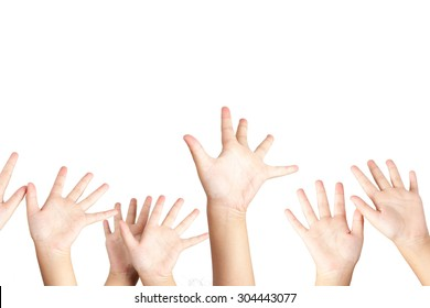 Raised hands in class of school isolated on white background.