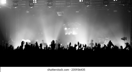 raised hands at a concert facing the stage