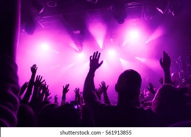 Raised hands of fans during a concert (show or performance) on the background of purple rays of light