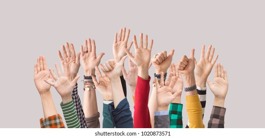 Raised up hands,  palms, fingers,