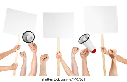 Raised human hands with megaphones and placards on white background. Strike and protest concept