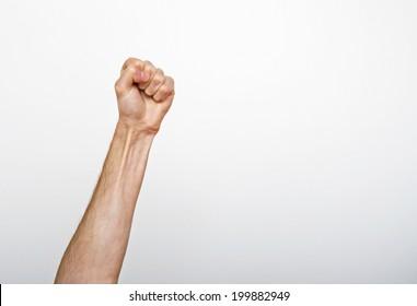 Raised man fist