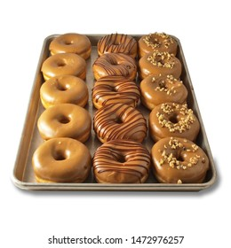 Raised Ring Donuts Maple Iced with Assorted Toppings