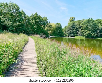 A raised wooden walkway runs at the side of Staunton Harold reservoir, towards a small weir and woodland.