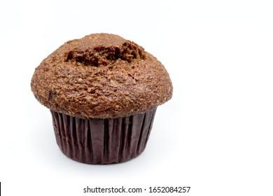 Raisin bran muffin on white