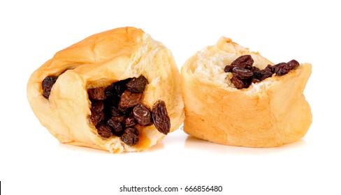 Raisin Bread on a white background