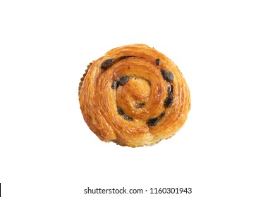 Raisin danish pastry on the yellow wood and blue gingham check cloth isolated on white. Colourful tasty sweet bakery.