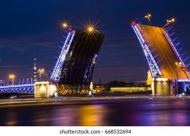 The raising of the bridges in St. Petersburg at white night