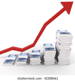 Raising Chart of twenty euro Stacks with a red arrow isolated on white with clipping path