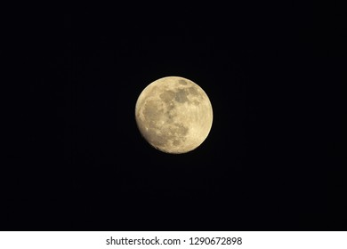 Raising yellow Moon on night sky