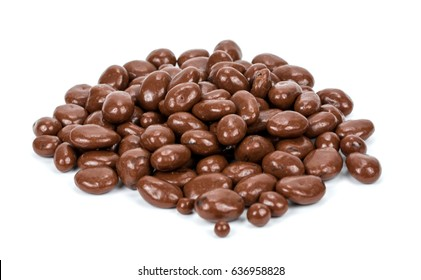 Raisins in chocolate isolated on white background