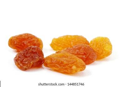 Raisins on white