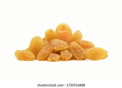 Raisins on white background, Isolated Raisin, Heap of yellow Raisins, Indian Kishmish.