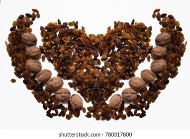 raisins and walnuts in the shape of heart