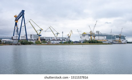 Raisio, Finland - September 21, 2019: Turku Shipyard was founded in 1737 and, today, it is one of the leading European shipbuilding companies. Over the years the shipyard has built 1,300 new ships.