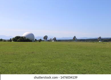 Raisting, Bavaria, Germany August 11th. 2019. Earth satellite communication Radom in Upper Bavaria.