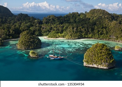 In Raja Ampat, Indonesia, a protected bay, surrounded by high limestone islands, harbors beautiful fringing reefs where small fishes and invertebrates grow.