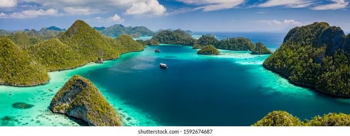 Raja Ampat islands aerial drone, Indonesia