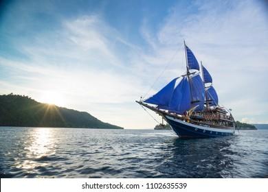 Raja Ampat, Papua / Indonesia - 12 08 2016 : Phinisi boat
