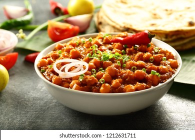 Rajasthan foods- vegetarian channa masala or chickpeas curry -Famous Indian recipes.