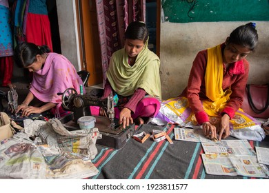 Rajasthan. India. 07-02-2018. Group of young woman are receiving sewing lessons in their village, as a future working opportunity.