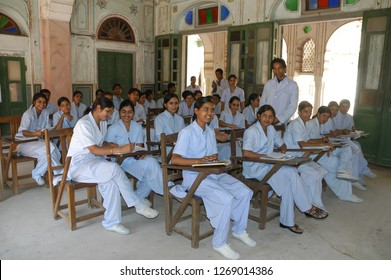 Rajasthan, India - February 25, 2006: Group of nursing students in a school of the Naila Fort a village of Jaipur