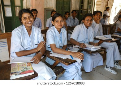 Rajasthan, India - February 25, 2006: Young nursing students in a school class of Naila Fort a village of Jaipur